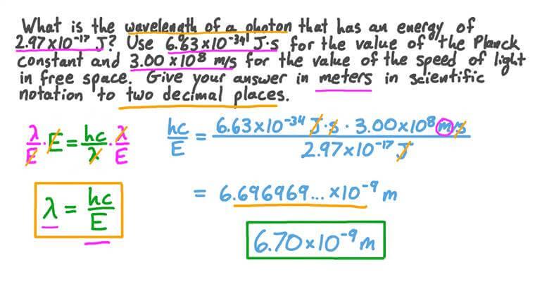 Calcul de la longueur d'onde d'un photon compte tenu de son énergie