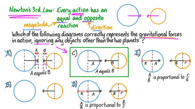 Application de la troisième loi de mouvement de Newton aux forces gravitationnelles