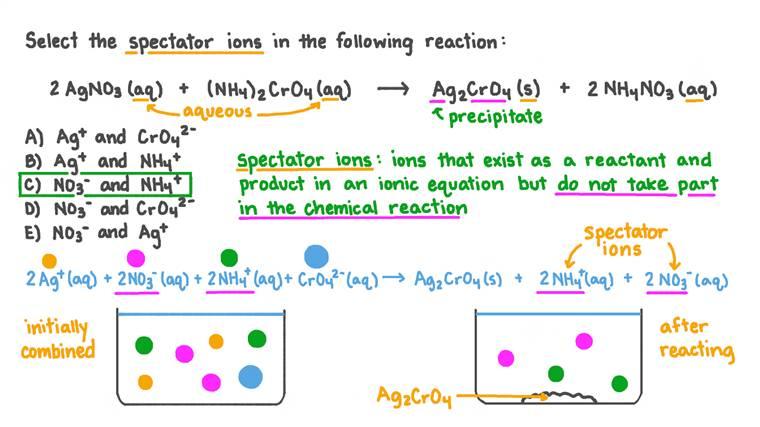 Identifier les ions spectateurs dans la réaction du nitrate d'argent avec le chromate d'ammonium