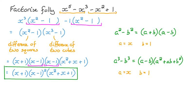 Factorisation by Grouping Involving Factorising the Sum of Two Cubes and Perfect Squares