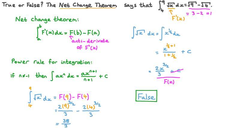 Using the Net Change Theorem
