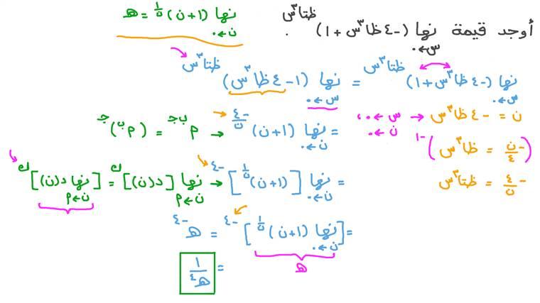 إيجاد النهايات بتحويلها إلى صور النهاية باستخدام العدد هـ