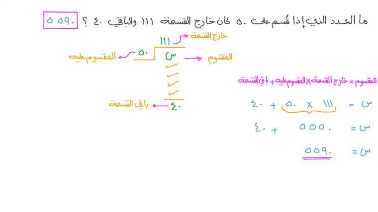 إيجاد المقسوم عليه بمعلومية المقسوم وخارج القسمة والباقي في صورة أعداد صحيحة