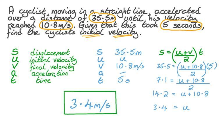 Déterminer la vitesse initiale d'un cycliste se déplaçant avec une accélération uniforme