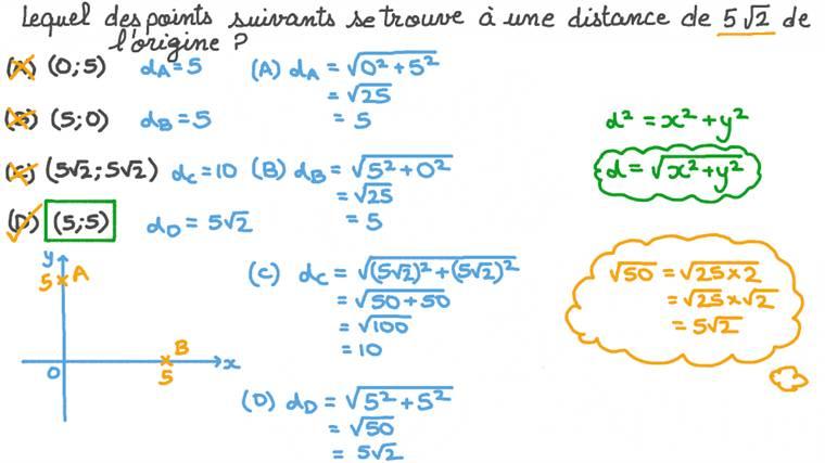 Calculer la distance entre deux points en utilisant la formule de la distance