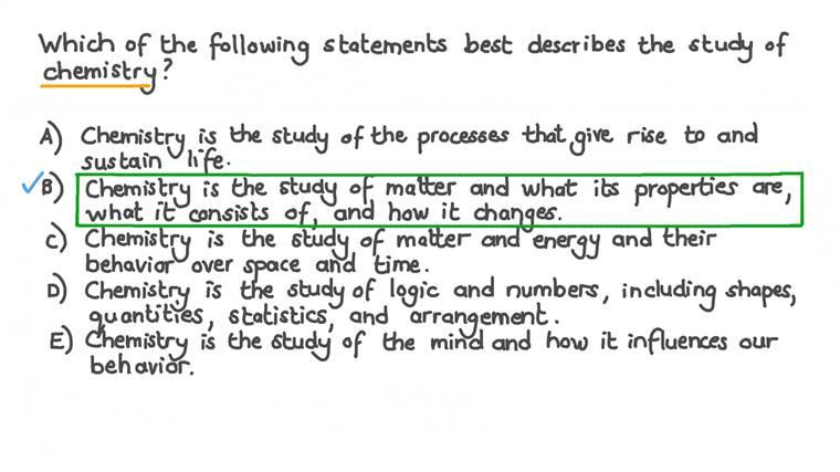 Identifier l'énoncé qui décrit l'étude de la chimie