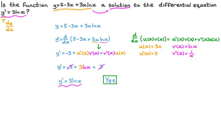 Checking If a Function Is a Solution to a Differential Equation