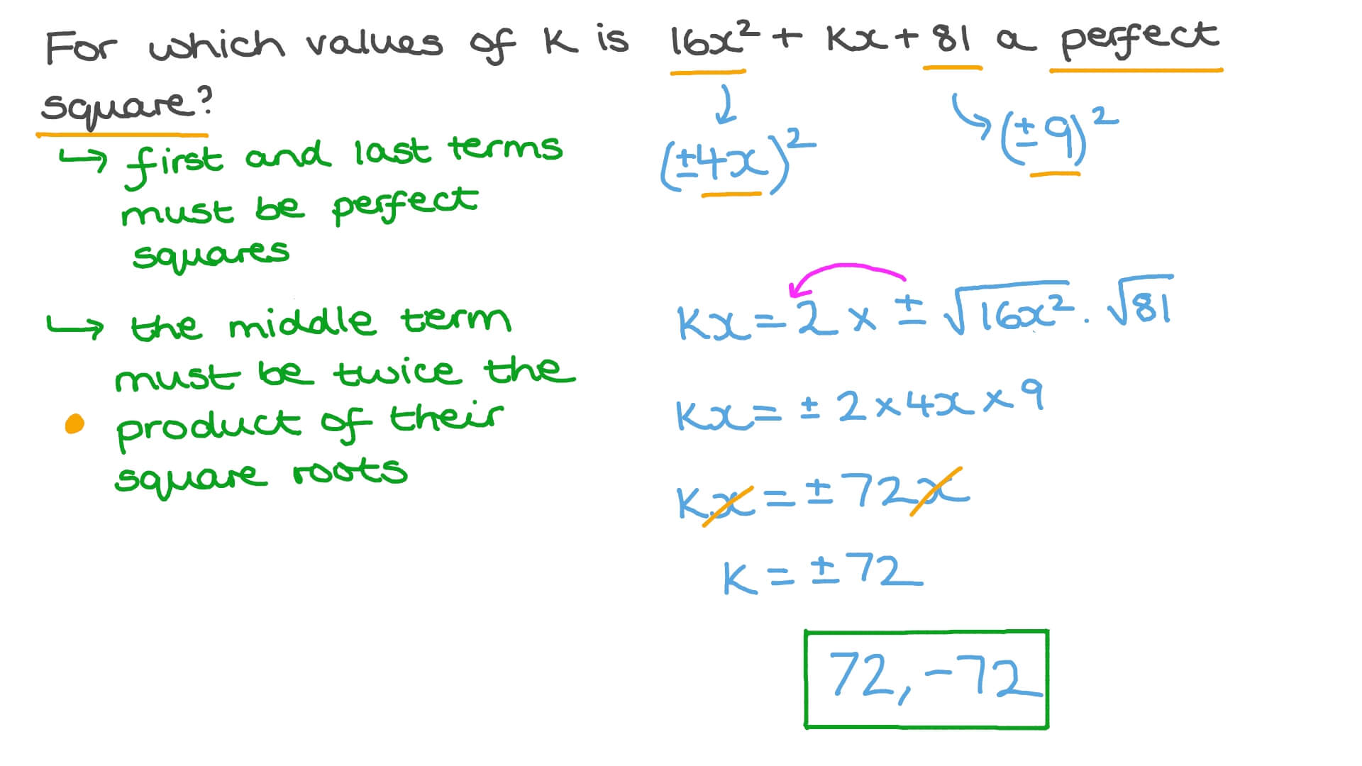 Question Video Finding The Value Of An Unknown To Make A Trinomial A Perfect Square Trinomial Nagwa Adding polynomial expressions 172