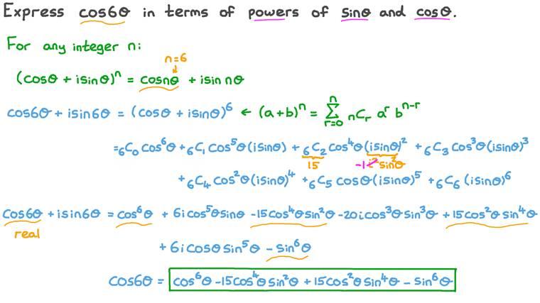 Déterminer une formule d'angles multiples pour le cosinus