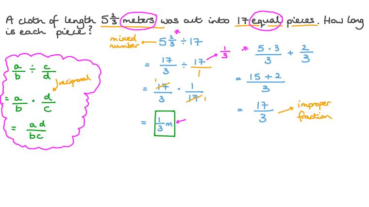 Solving Word Problems by Dividing a Mixed Number by a Whole Number