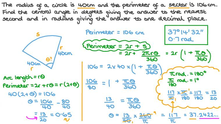 Finding the Measure of an Arc's Central Angle given the Circular Sector's Perimeter and the Circle's Radius