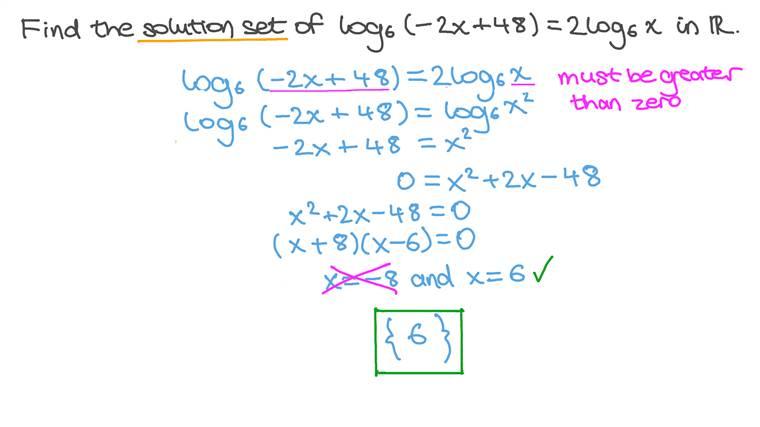 Résoudre des équations logarithmiques impliquant des règles sur les logarithmes et des équations du second degré