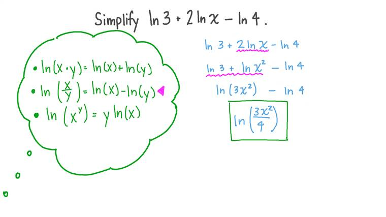 Simplifying Expressions with the Natural Log