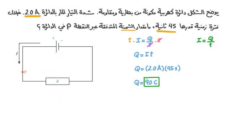إيجاد الشحنة المتدفقة عبر نقطة في دائرة كهربية