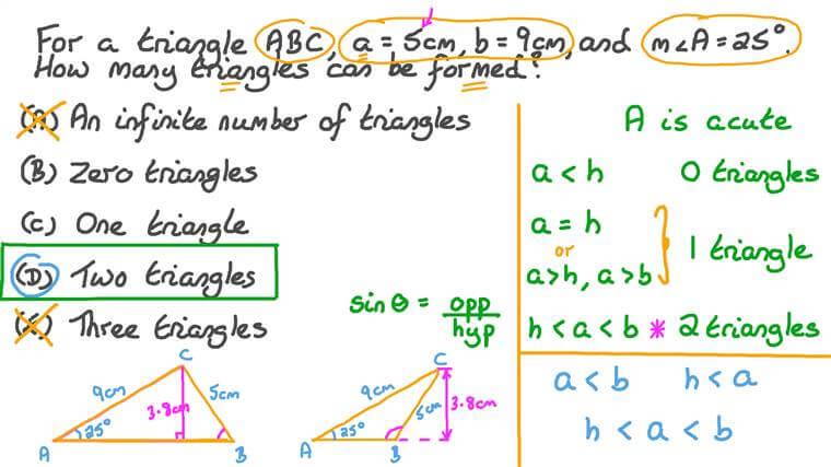 Utiliser la loi des sinus pour calculer le nombre de triangles pouvant être formés
