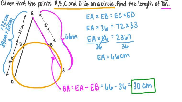 Déterminer la longueur d'une corde en utilisant le théorème des cordes