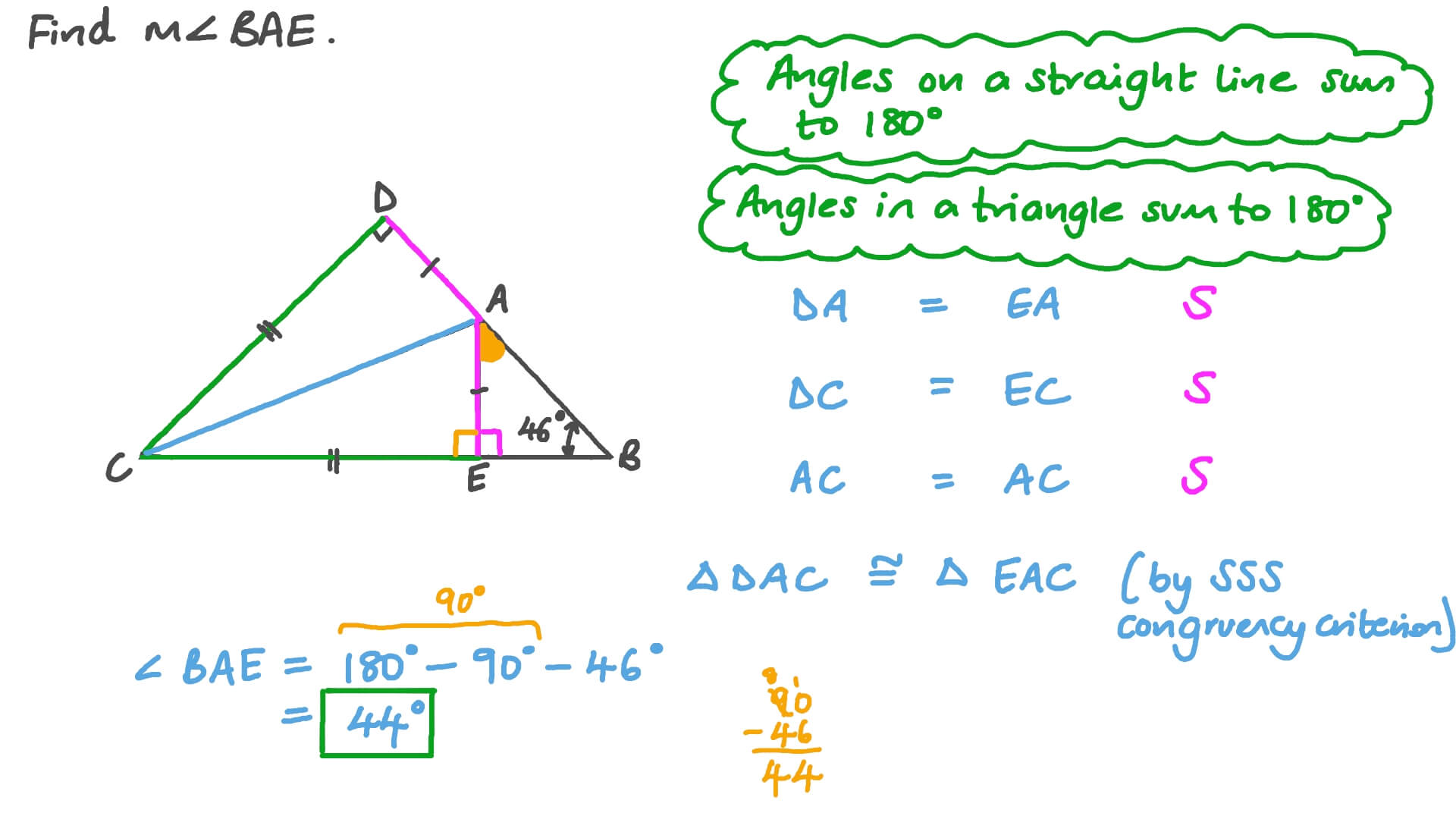 Question Video Finding The Measure Of An Angle Using The Congruence Of Triangles