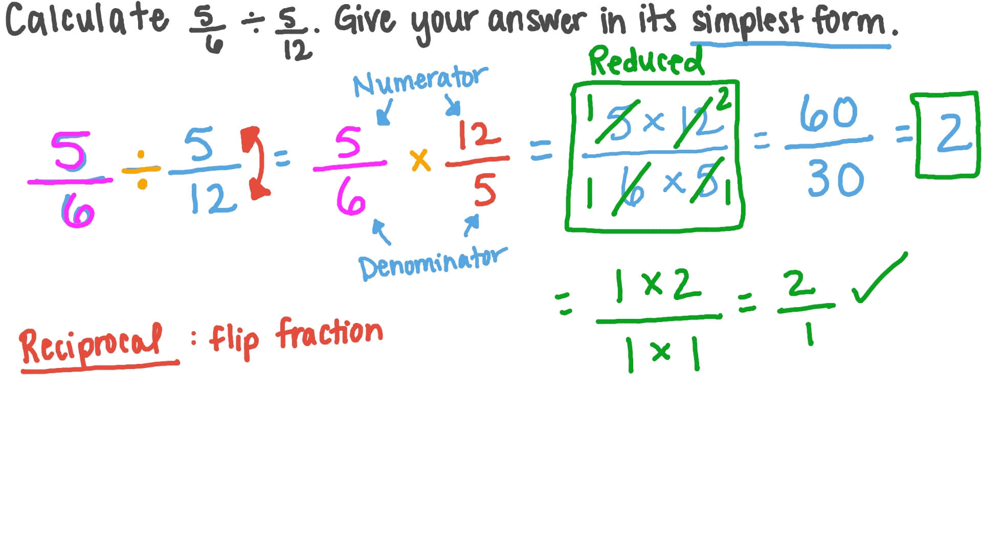 simplest form 5/12  Finding in the Simplest Form the Result of Dividing Two Fractions