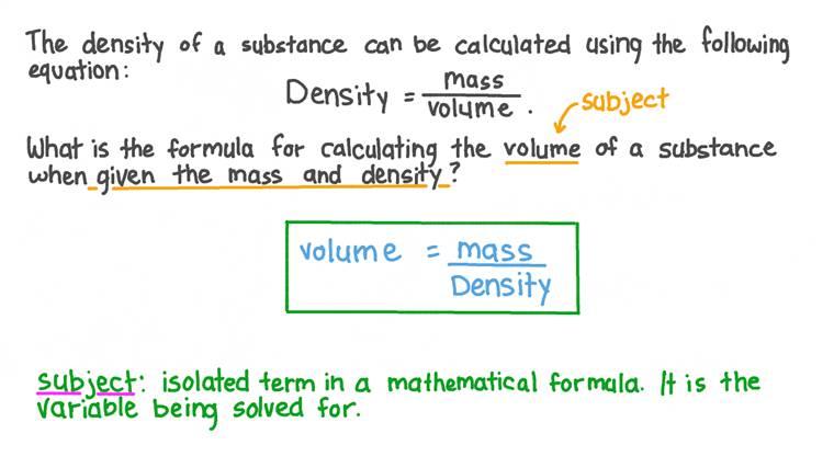Déterminer la formule utilisée pour calculer le volume d'une substance en fonction de sa masse et de sa densité