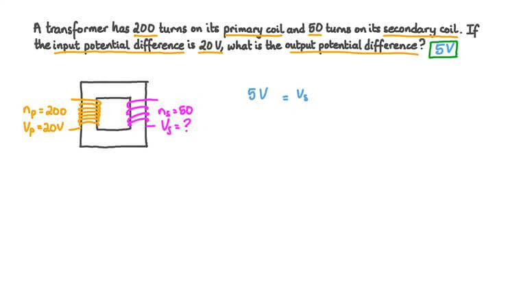 Finding the Output Potential Difference of a Transformer