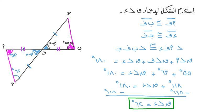إيجاد قياس زاوية في مثلث بمعلومية قياس زاوية مناظرة لها في مثلث مطابق للمثلث الأول