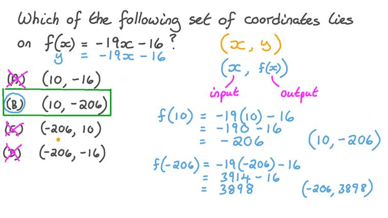 Determining Which Point Satisfies a Given Linear Function