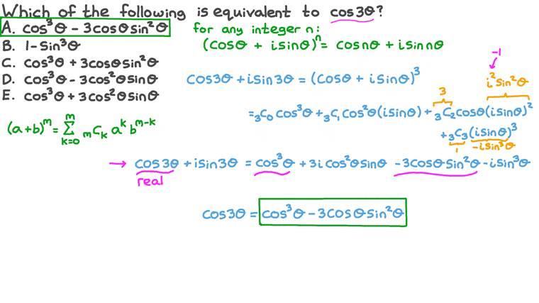 Trouver une formule pour le cosinus de l'angle triple
