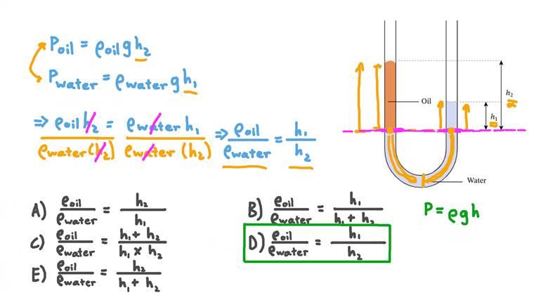 Déterminer le rapport des masses volumiques de fluides dans un manomètre à colonne de liquide
