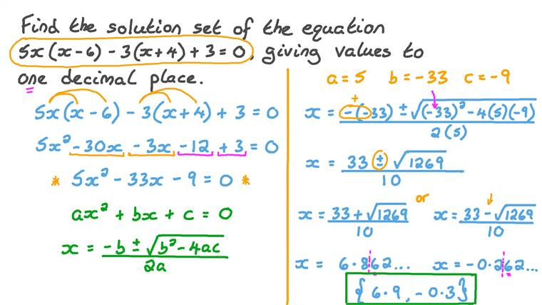 Résoudre des équations du second degré en utilisant les formules du second degré