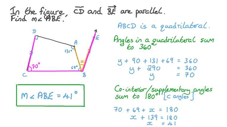 Finding the Measure of an Angle between One of Two Parallel Lines and the Side of a Given Quadrilateral