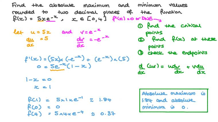 Finding the Absolute Maximum and Minimum Values of a Function in a Given Interval Involving Using the Product Rule