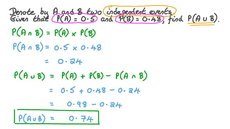 Determining the Probability of Union of Two Independent Events