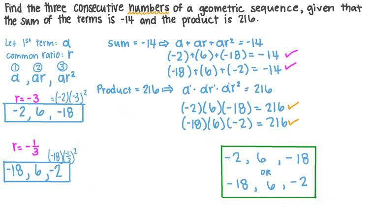 Déterminer les termes d'une suite géométrique en fonction de leur somme et de leur produit