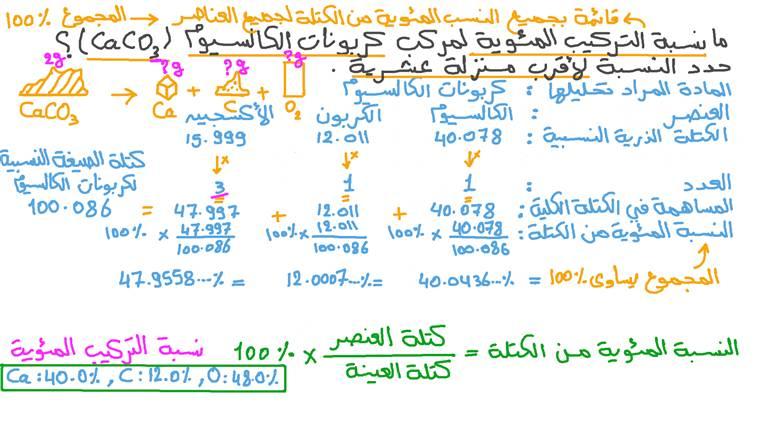 حساب نسبة التركيب المئوية لمركب ثلاثي