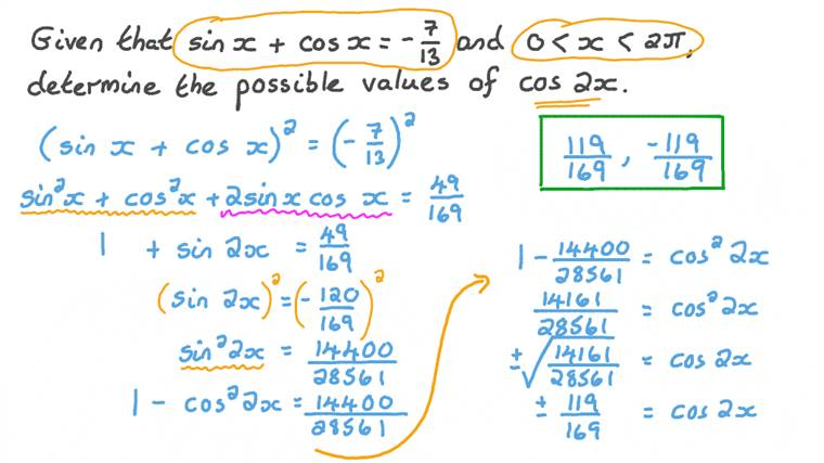 Finding the Value of a Trigonometric Function Using Double-Angle Identities