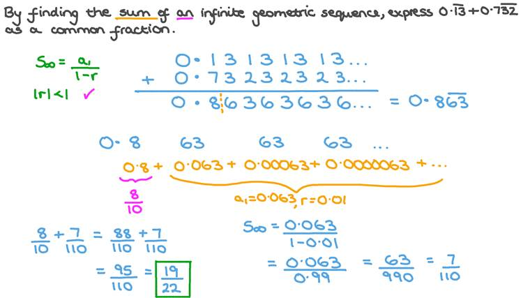 Finding the Sum of an Infinite Geometric Sequence by Converting Recurring Decimals to Fractions