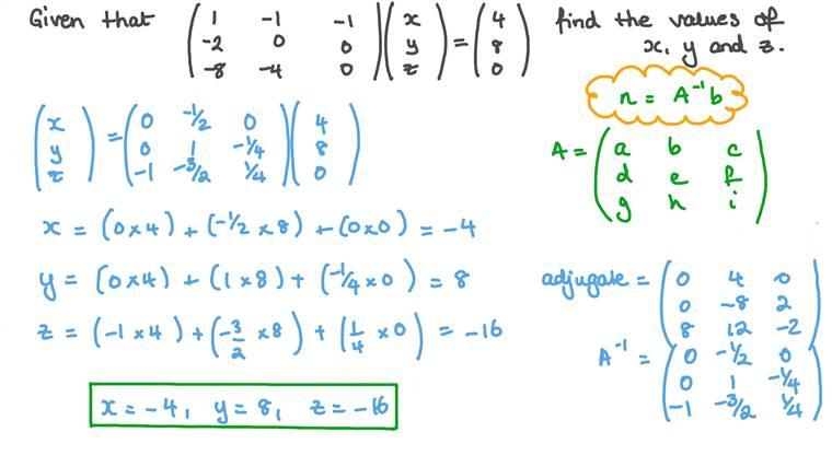 Résoudre une équation vectorielle en utilisant l'inverse d'une matrice