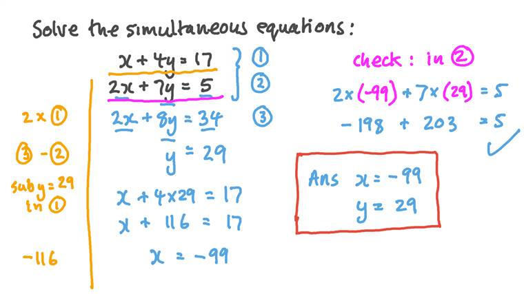 Solving a System of Two Linear Equations Simultaneously