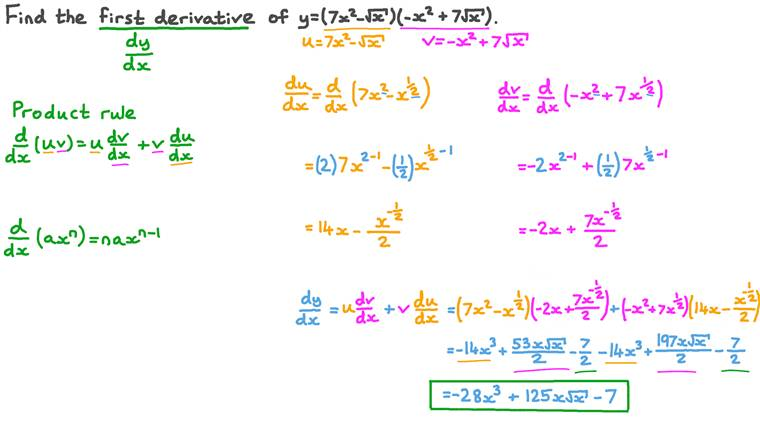 Differentiating a Combination of Root and Polynomial Functions Using the Product Rule