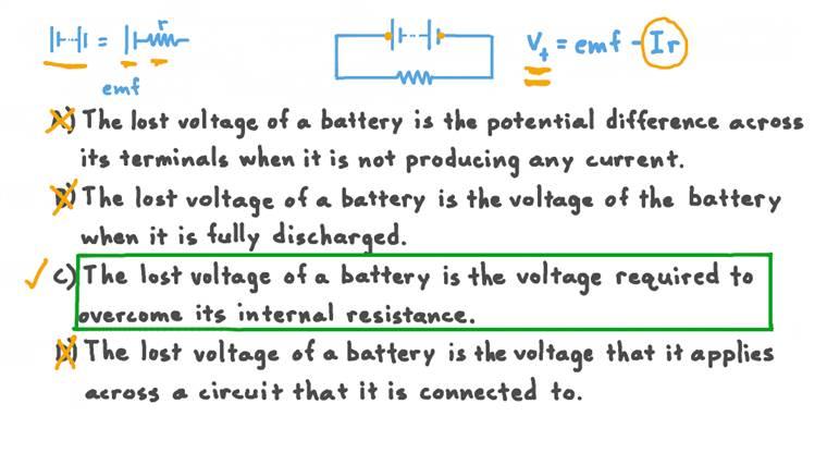Décrire la chute de tension d'une batterie