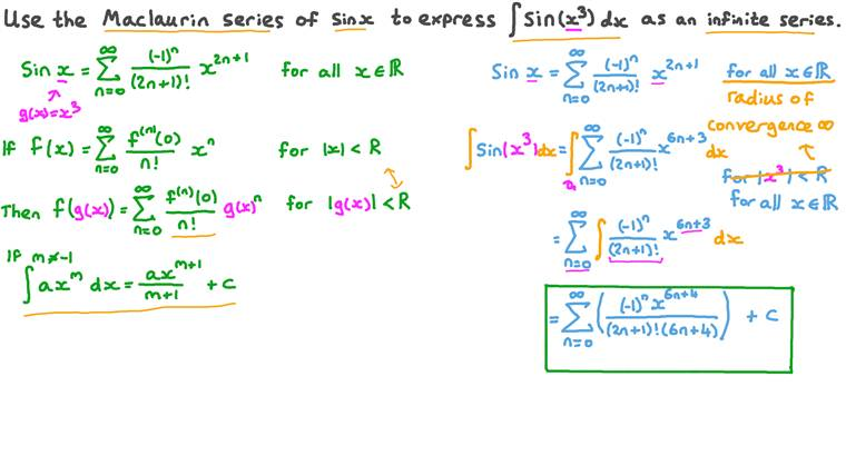 Using the Maclaurin Series of Sine Functions to Express Integrals as Infinite Series
