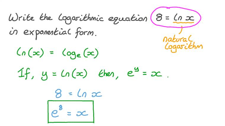 Rewriting a Logarithmic Equation in Exponential Form