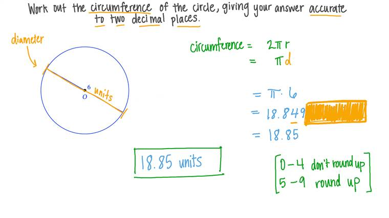 Finding the Circumference of a Circle Given a Diameter