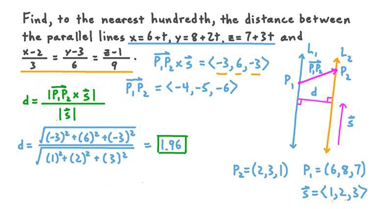 Trouver la distance entre deux droites parallèles