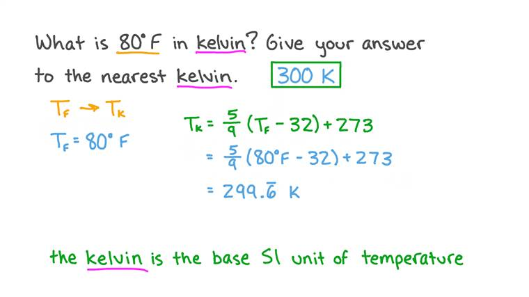 La conversion de Fahrenheit en Kelvin