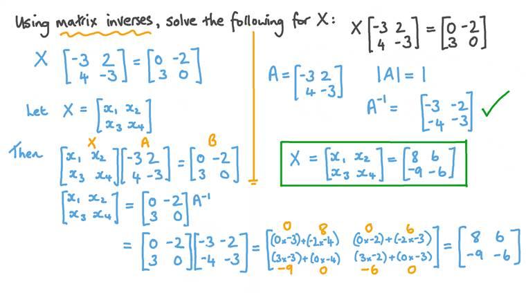 Using Matrix Inverses to Solve a 2 × 2 Matrix Equation