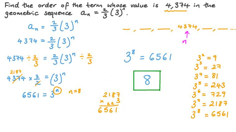Finding the Order of a Term in a Geometric Sequence given Its Value and General Term
