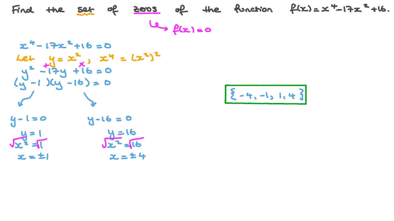 Question Video Finding The Set Of Zeros Of A Polynomial Function Nagwa Adding polynomial expressions 172