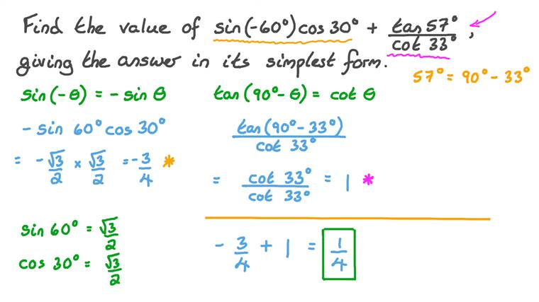 Evaluating Trigonometric Expressions Involving Cofunction and Odd Identities