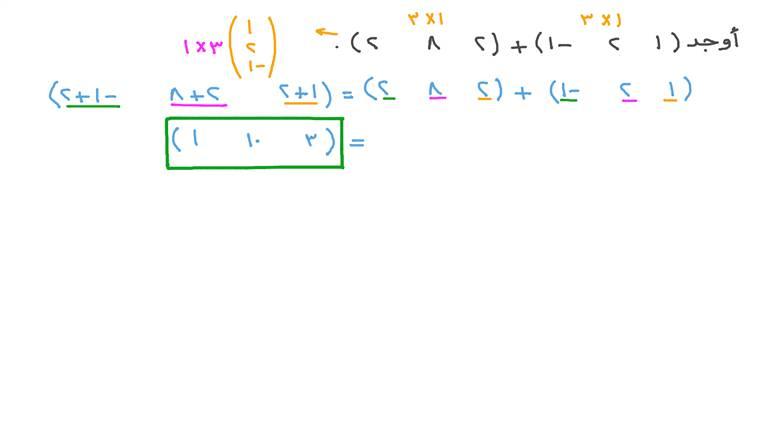 جمع مصفوفتين من الرتبة ١ × ٣